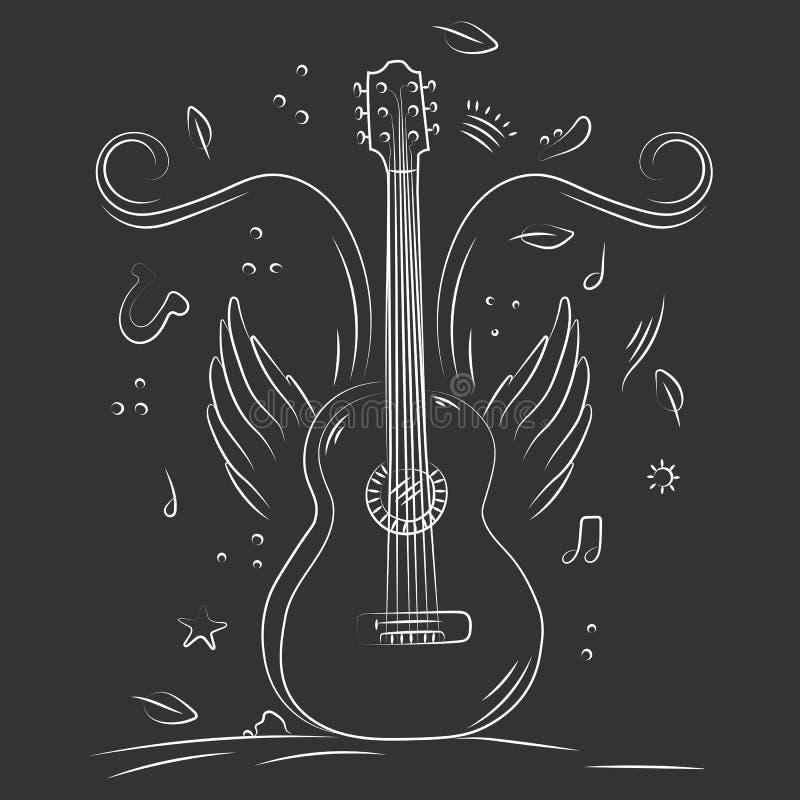 Utdragen akustisk gitarr för hand med vingar och musikanmärkningar arkivbild