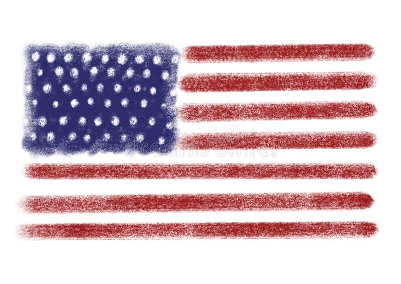 Utdragen amerikanska flaggan för hand som isoleras på vit tillgänglig vektor för dagmapparbete veteran stock illustrationer