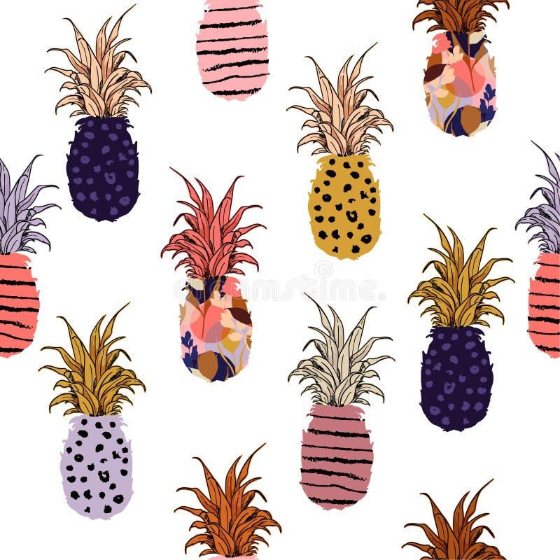 Utdragen ananas för härlig och gullig färgrik hand påfyllning-på med mummel stock illustrationer