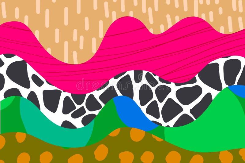 Utdragen bakgrundsillustration för abstrakt hand i rosa orange gröna bruna svarta blått för vibrerande färger royaltyfri illustrationer