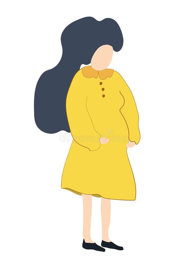 Utdragen begreppsmässig illustration för hand av gravida kvinnan royaltyfri illustrationer