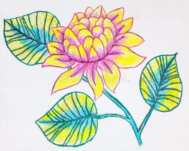 Utdragen bild för hand av en dahlia stock illustrationer