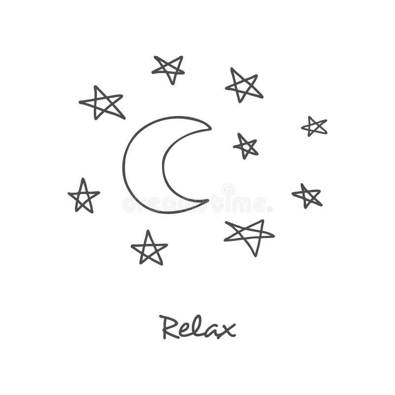 Utdragen bild för hand av månen med stjärnan royaltyfri illustrationer