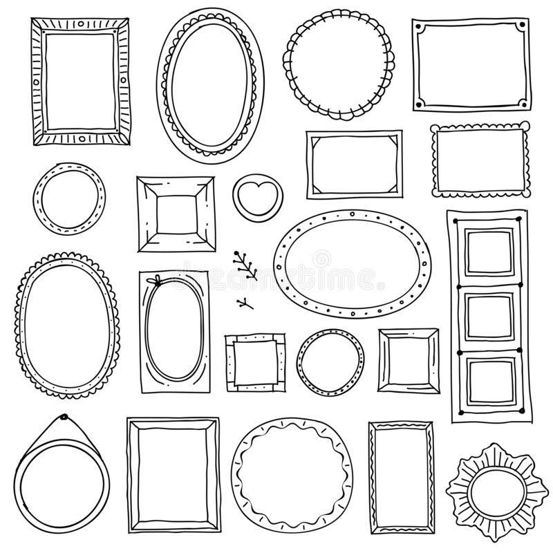 Utdragen bildram för hand Klottrar fyrkantiga ovala fotoramar för klottret, urklippsbok gränser som vektorn skissar den isolerade stock illustrationer