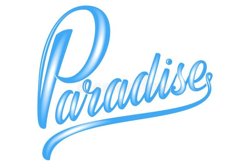 Utdragen blå bokstäver Paradise för hand med volym Elegant isolerad modern handskriven kalligrafi Vektorfärgpulverillustration stock illustrationer