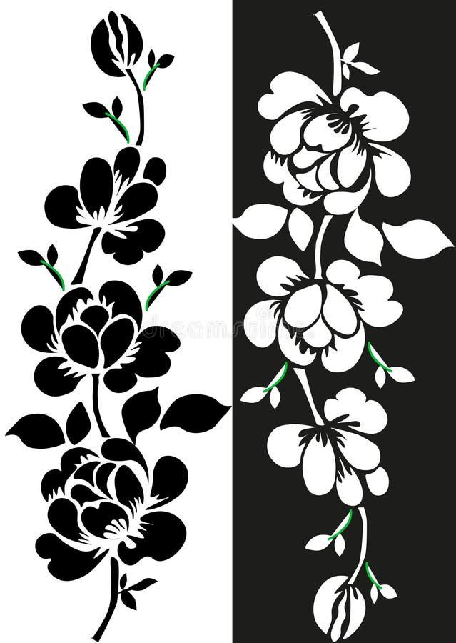 Utdragen blom- s?ml?s modell f?r hand med v?xt av sl?ktet Trifoliumkonturer som isoleras p? vit Gullig grafisk blommabakgrund som royaltyfri illustrationer