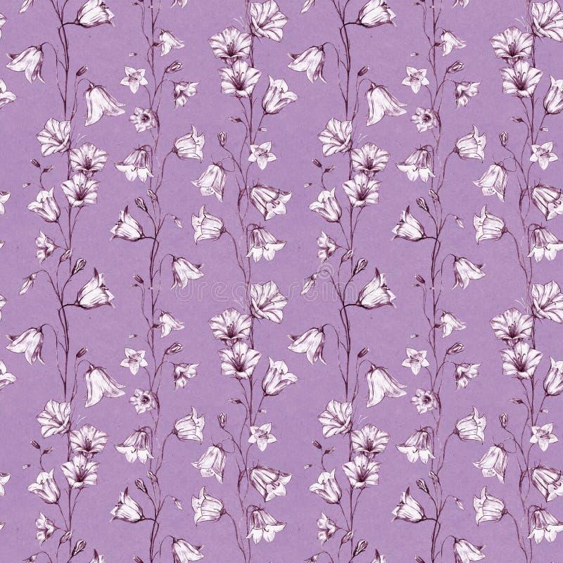 Utdragen blom- sömlös modellbakgrund för hand med rosa och vita grafiska blåklockablommor på papper för dammrosa färghantverk royaltyfri illustrationer
