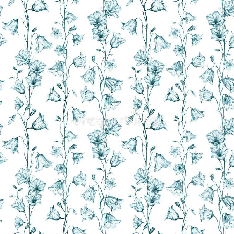 Utdragen blom- sömlös modellbakgrund för hand med vertikala gröna grafiska blåklockablommor på vit bakgrund vektor illustrationer