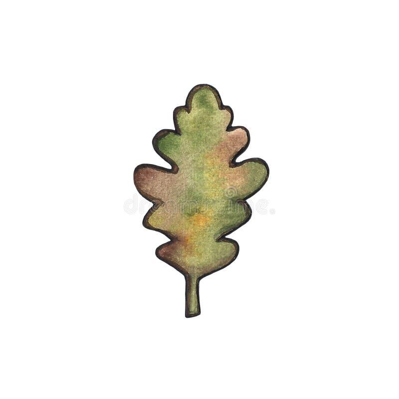Utdragen blom- vattenfärgillustration för hand av en bladfilial som isoleras på vit bakgrund Höst nedgång, bladnedgång royaltyfri illustrationer