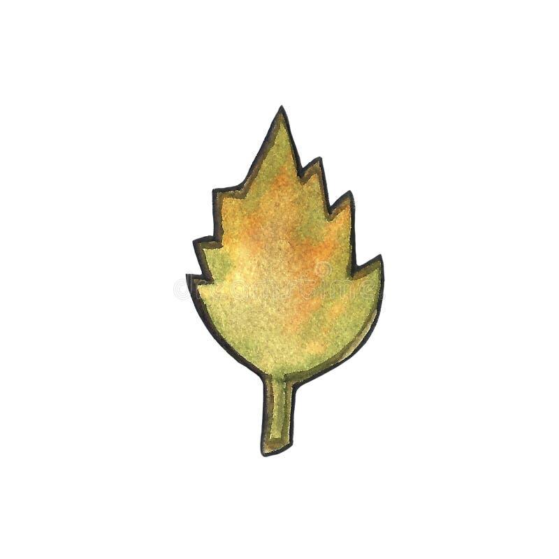 Utdragen blom- vattenfärgillustration för hand av en bladfilial som isoleras på vit bakgrund Höst nedgång, bladnedgång stock illustrationer