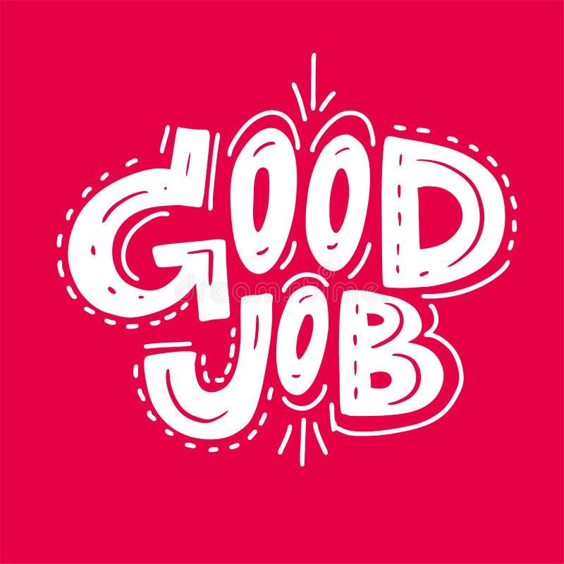 Utdragen bokstäver för bra jobblogohand Vektorillustrationen skissar Isolerat på rosa bakgrund royaltyfri illustrationer