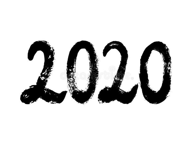 utdragen bokstäver för 2020 hand som isoleras på vit bakgrund Lyckligt nytt ?r 2020 stock illustrationer