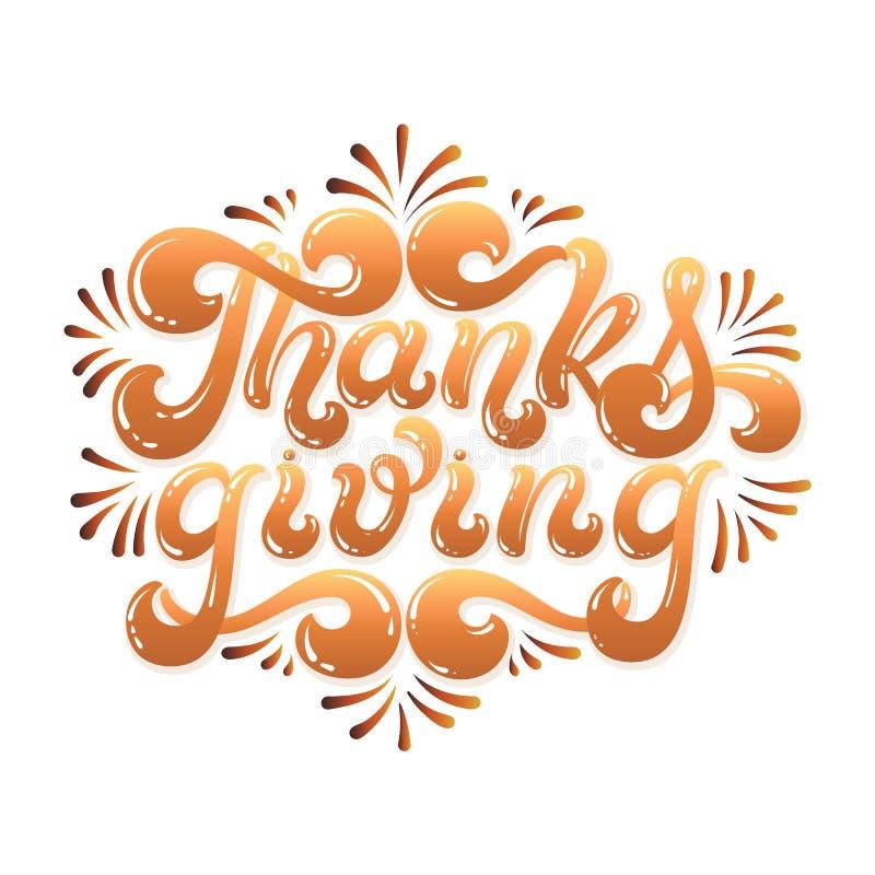 Utdragen bokstäver för tacksägelsehand Glad färgrik text som isoleras på vit bakgrund appy tacksägelsedagtypografi royaltyfri illustrationer