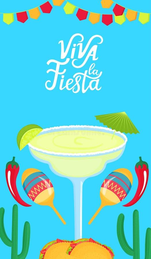 Utdragen bokstäver för Viva la Fiesta hand E Margarita med limefrukt, maracas, kaktuns och chilipeppar stock illustrationer