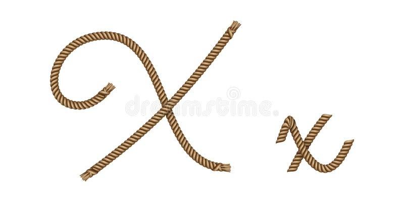 Utdragen bokstav X för rephand royaltyfri illustrationer