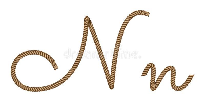 Utdragen bokstav N för rephand royaltyfri illustrationer