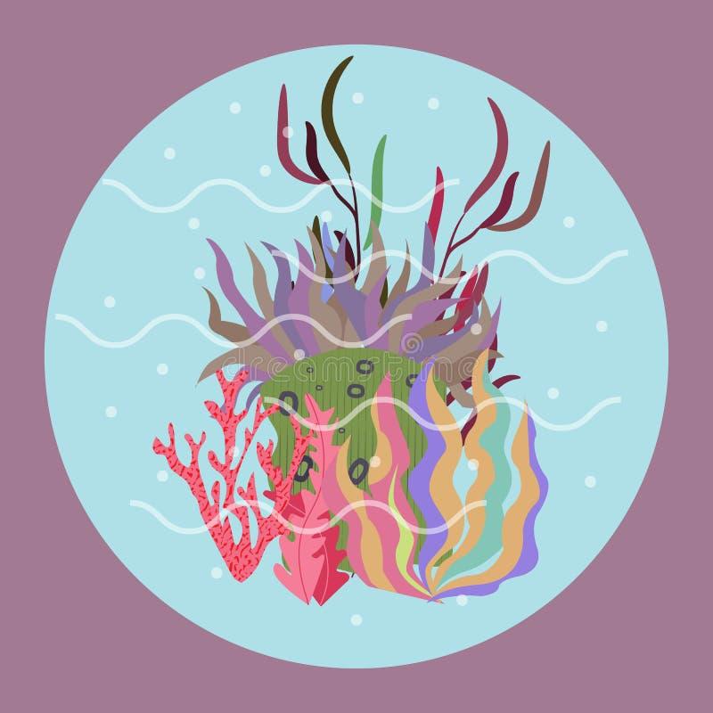 Utdragen botanisk vektorillustration f?r h?rlig hand med tropiska koraller Isolerat p? bl?ttbakgrund royaltyfri illustrationer