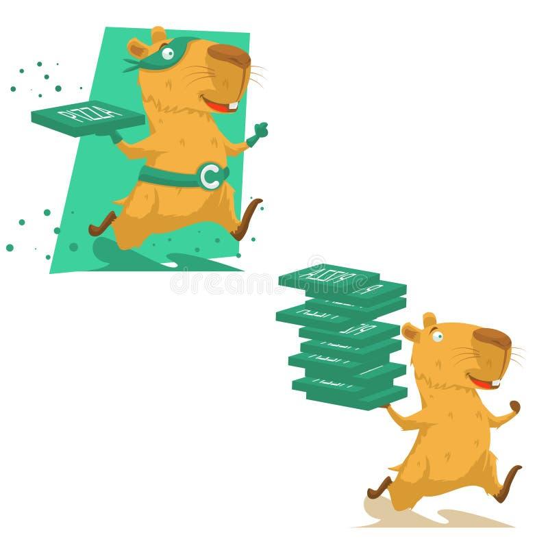 Utdragen capybaraspring för gullig hand royaltyfri illustrationer