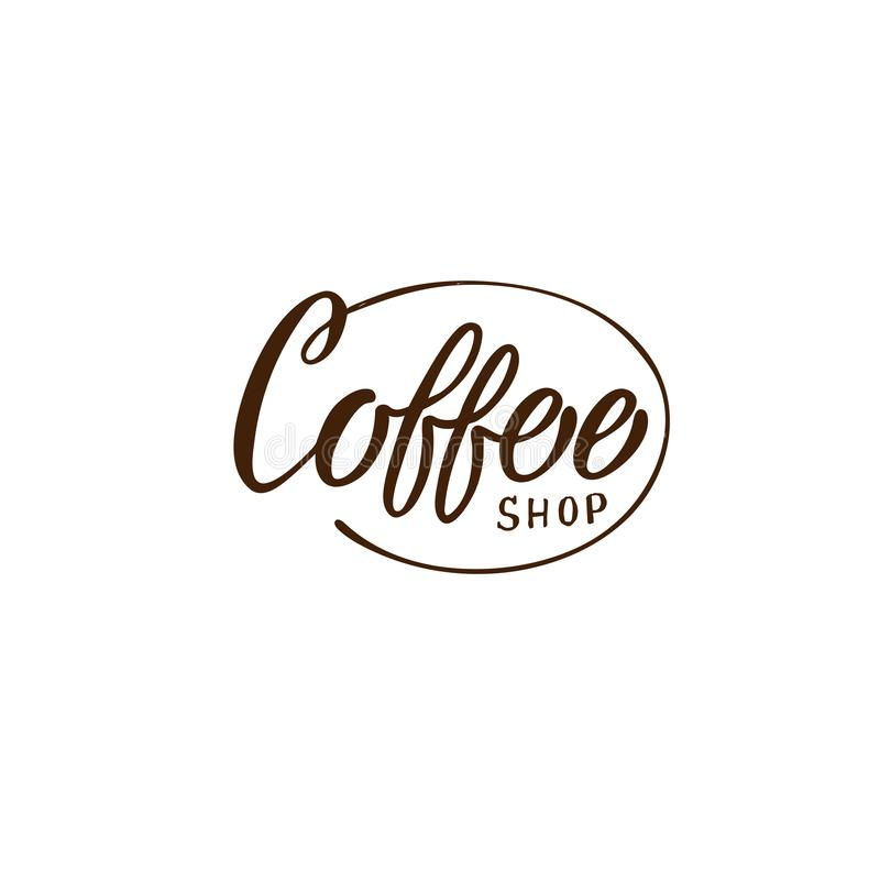 Utdragen coffee shoplogo för hand Enkelt och stilfullt vektor illustrationer
