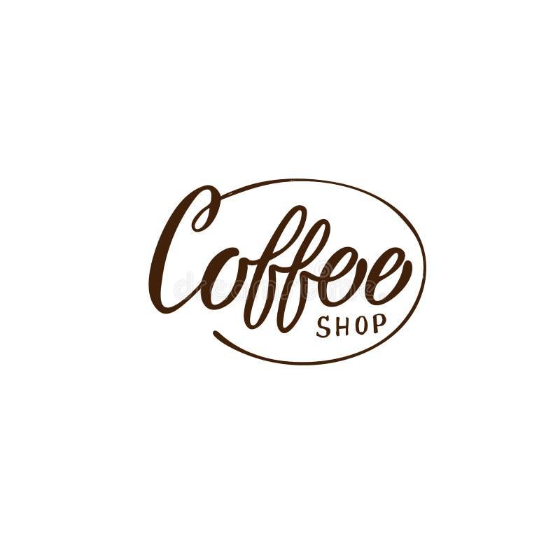 Utdragen coffee shoplogo f?r hand Enkelt och stilfullt emblem stock illustrationer
