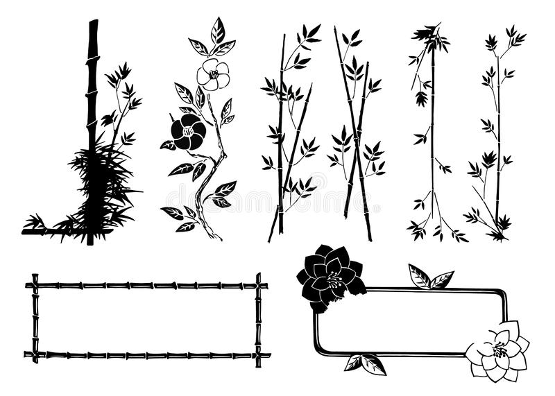 Utdragen dekorativ färgpulvervektor för hand och rambeståndsdelar i asiatisk stil med bambufilialer och dekorativa blommor som is stock illustrationer