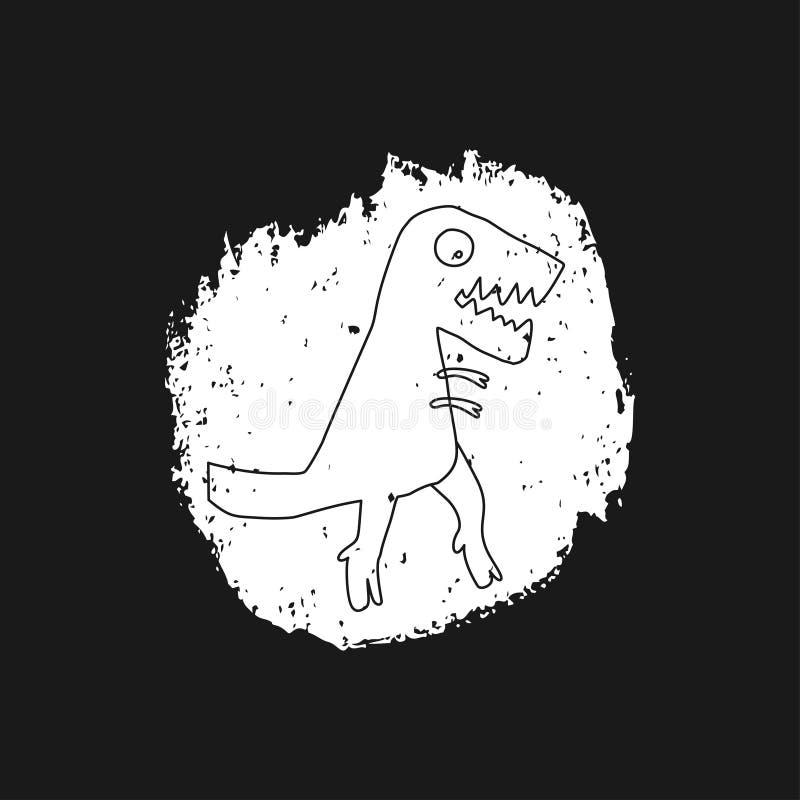 Utdragen dinosaurie för hand Jurassic reptil Skissa teckenet för det tyrannosarieRex klottret Isolerade gulliga dino stock illustrationer