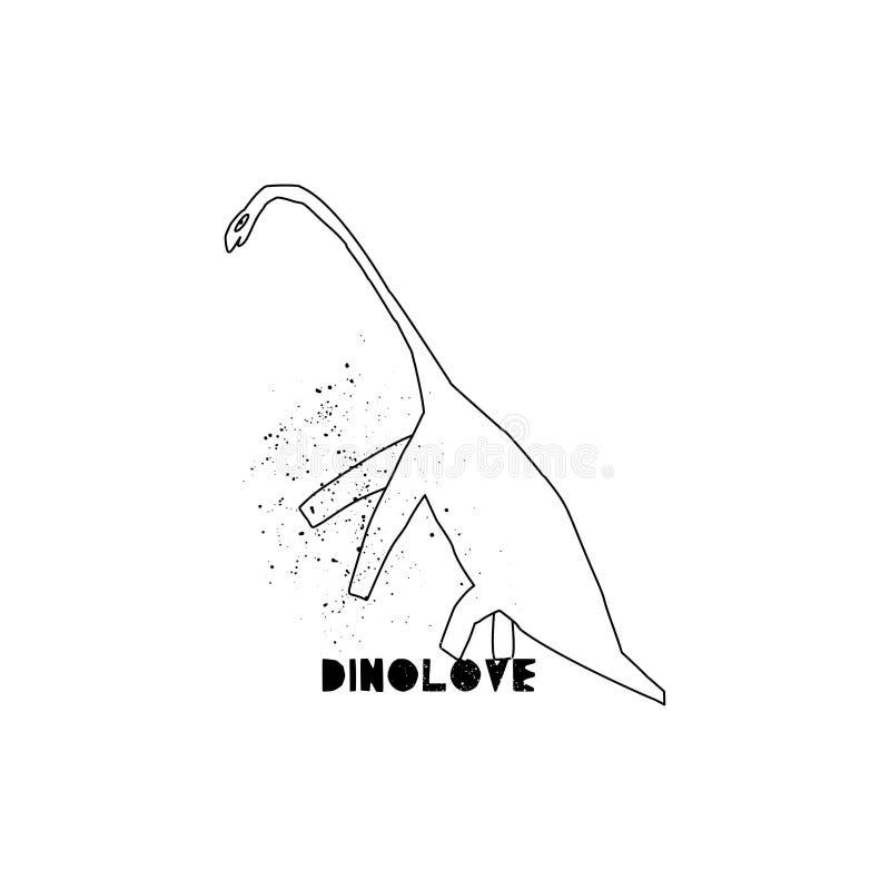Utdragen dinosaurie för hand med bokstäver Jurassic reptil Skissa Brontosaurusklotterteckenet royaltyfri illustrationer