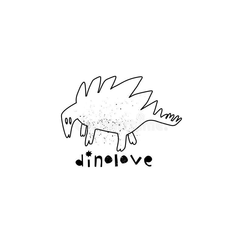 Utdragen dinosaurie för hand med bokstäver Jurassic reptil Skissa Stegosaurusklotterteckenet vektor illustrationer