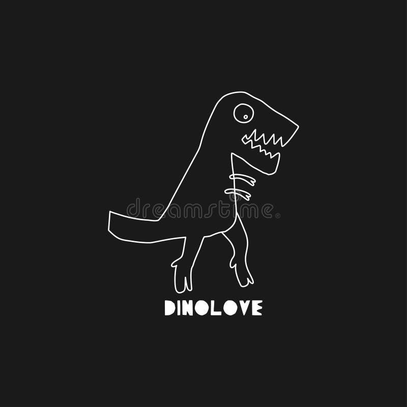 Utdragen dinosaurie för hand med bokstäver Jurassic reptil Skissa teckenet för det tyrannosarieRex klottret Isolerade gulliga din royaltyfri illustrationer