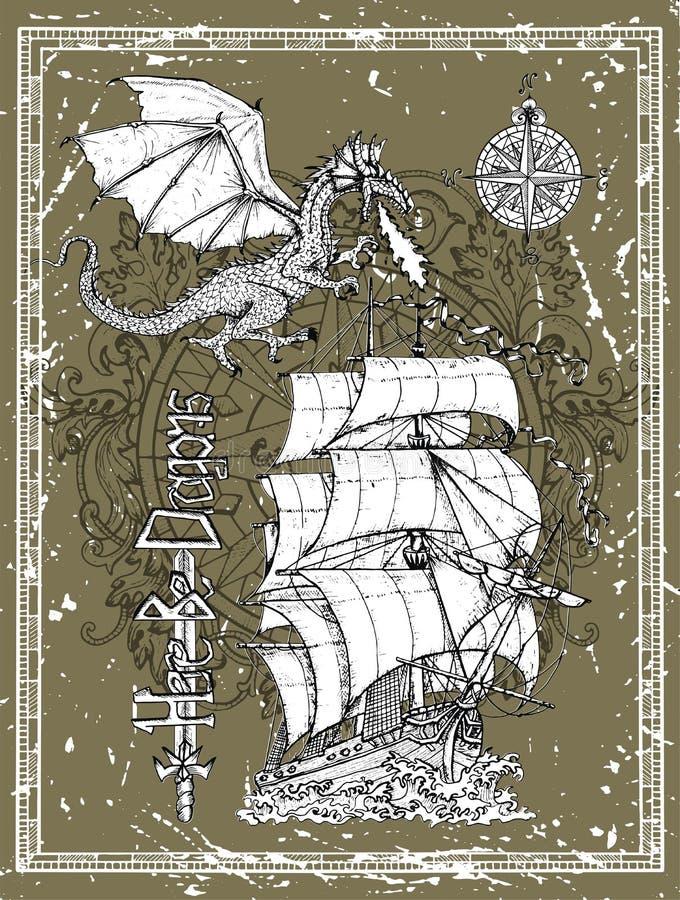 Utdragen drake för hand, gammal segelbåt, kompass i ram mot textur stock illustrationer