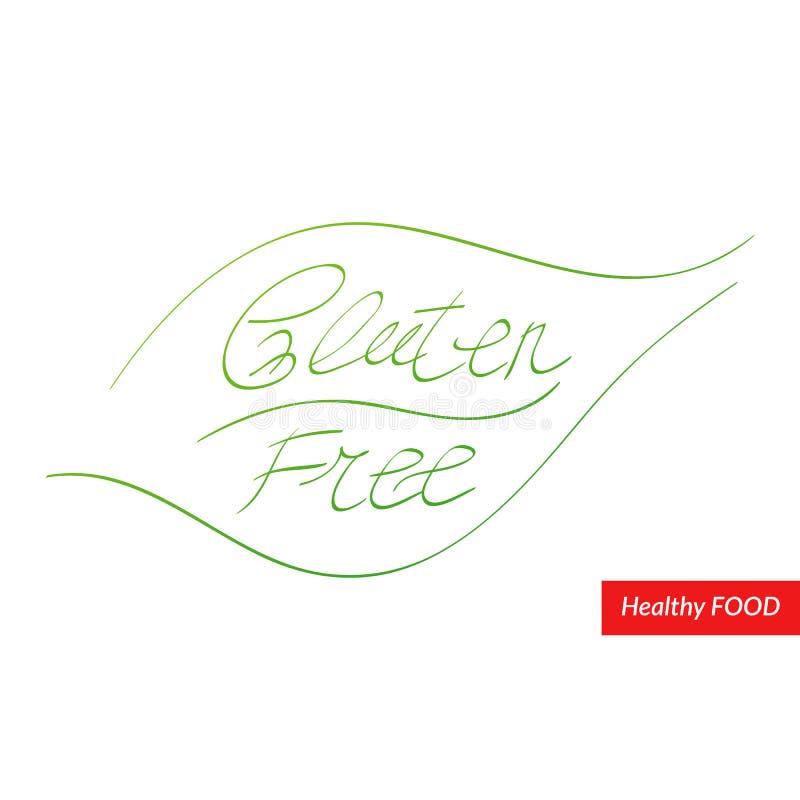 Utdragen etikett för glutenfria händer Vektorsymbol för mat, sunt äta, meny, design, begrepp, organisk produkt Borsta bokstäver,  stock illustrationer