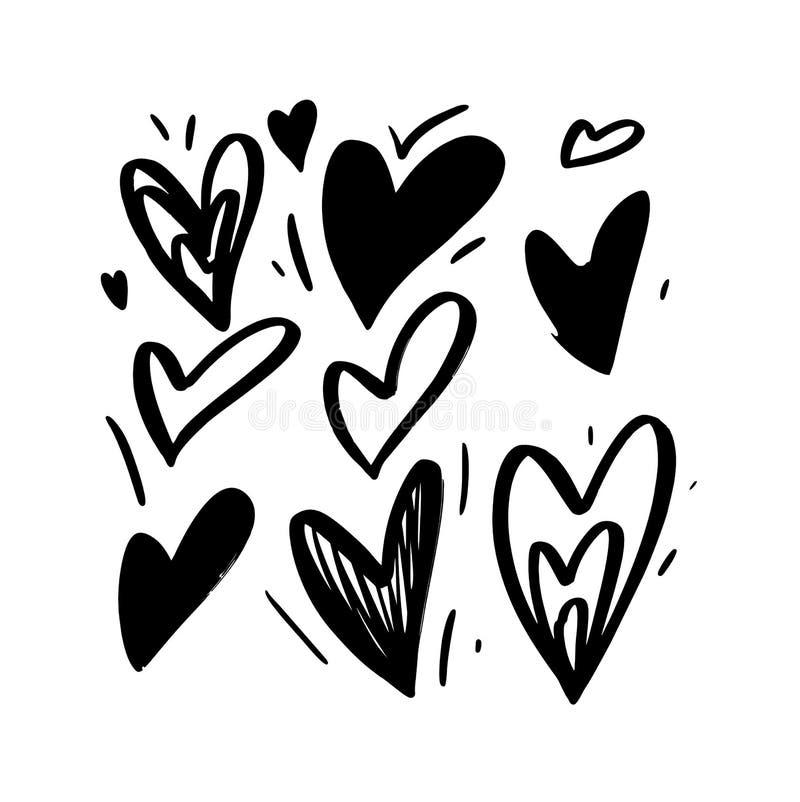 Utdragen förälskelsehjärta för hand Isolerad vektorillustration stock illustrationer