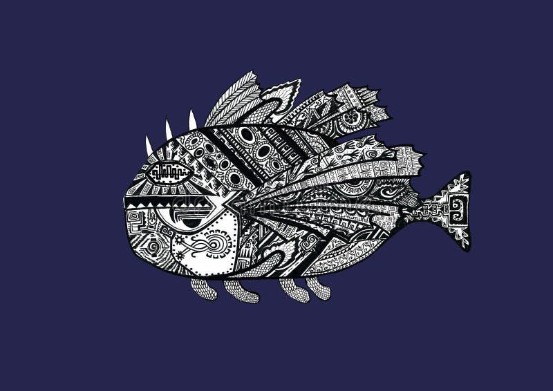 Utdragen fisk för hand av att klottra stil med gamla etniska indiska bevekelsegrunder Svartvit teckningsillustration royaltyfri illustrationer