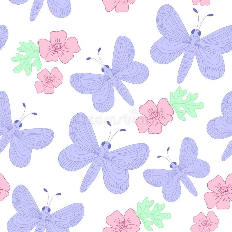 Utdragen fjäril för hand och blommor, gullig vår och modell för vektor för sommarrepetition sömlös, vit bakgrund royaltyfri illustrationer