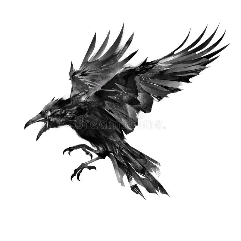 Utdragen flygfågel på den vita bakgrundssidosikten stock illustrationer