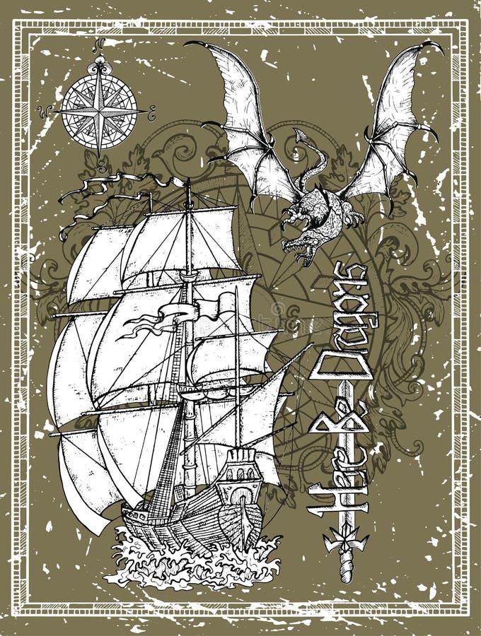 Utdragen forntida segla skyttel för hand, drake, svärd och kompass i ram vektor illustrationer