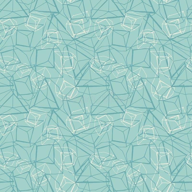 Utdragen geometrisk prismatisk effektdesign för abstrakt hand i monokrom blått och vitt seamless vektor för modell stock illustrationer