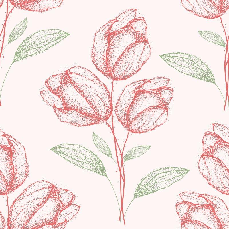 Utdragen gräsplan för delikat tappninghand och för blommabuketter för röd vår modell för droppe sömlös halv på kräm- v royaltyfri illustrationer