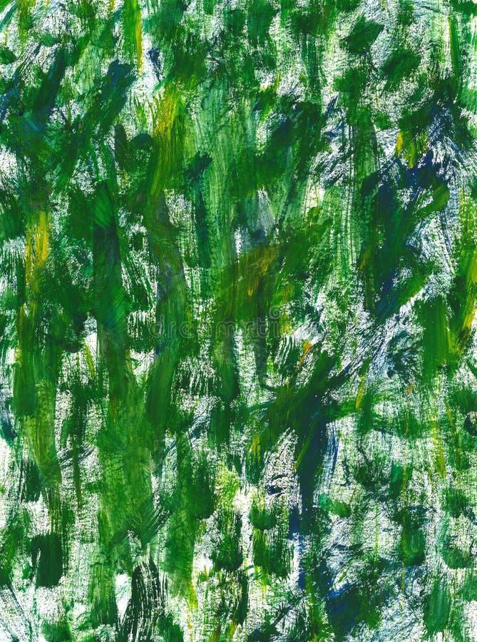 Utdragen grön textur för hand med penseldrag och fläckar av gouache- eller akrylmålarfärg Efterföljd av grönt nytt gräs, skogblad royaltyfri illustrationer