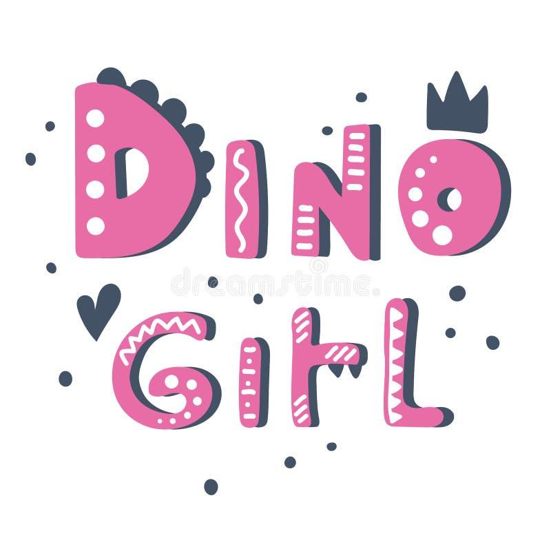 Utdragen gullig vektorbokstäver för hand Dino flicka royaltyfria bilder
