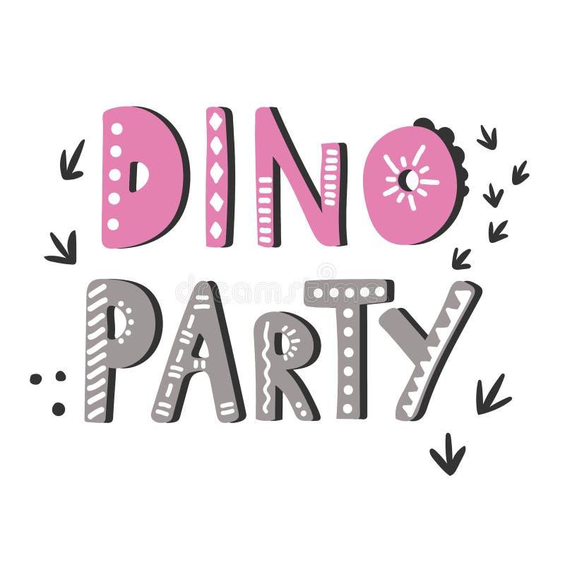 Utdragen gullig vektorbokstäver för hand Dino parti royaltyfri foto