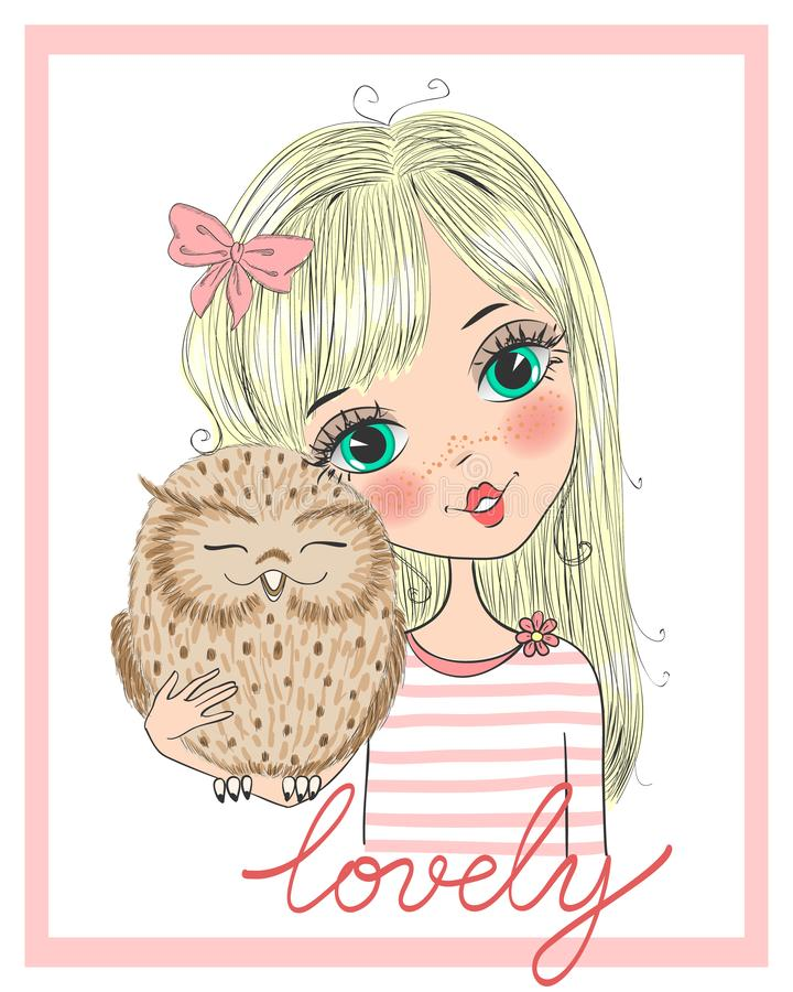 Utdragen härlig gullig flicka för hand med ugglan stock illustrationer