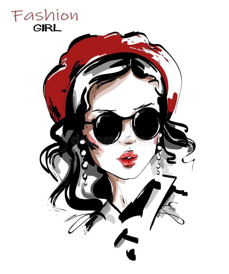 Utdragen härlig ung kvinna för hand i röd basker stilfull solglas?gon f?r flicka Modekvinnablick skissa stock illustrationer