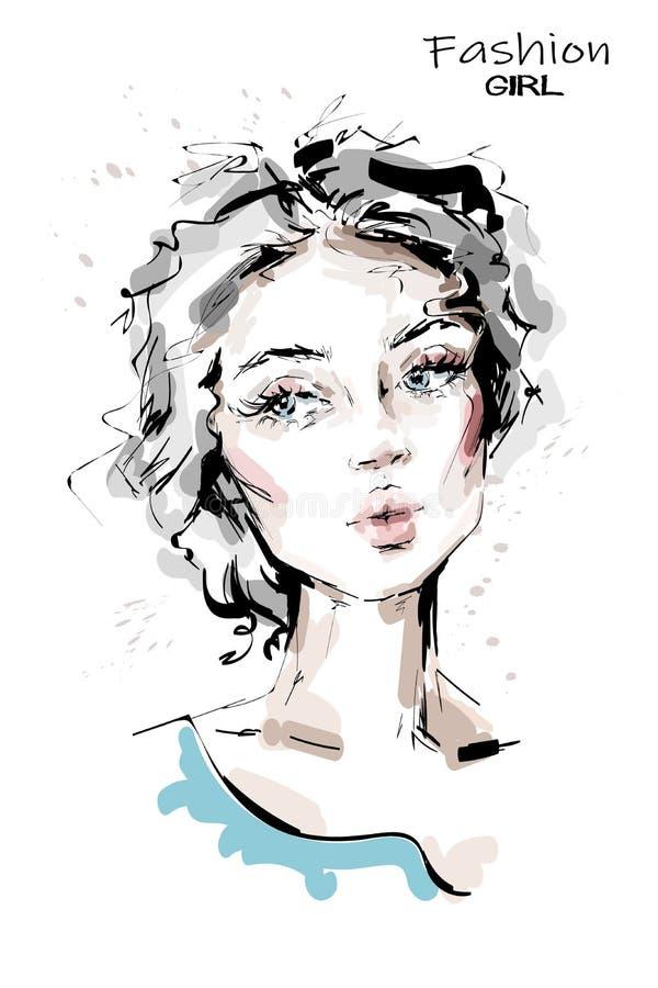 Utdragen härlig ung kvinna för hand med blåa ögon stilfull flicka Modekvinnaframsida skissa royaltyfri illustrationer