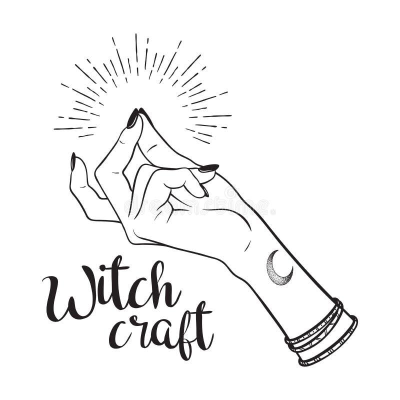 Utdragen häxahand för hand med låsande fast fingergest Prålig illustration för tatuering-, blackwork-, klistermärke-, lapp- eller stock illustrationer