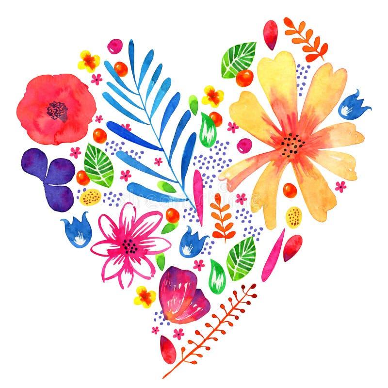 Utdragen illustration för blom- hjärtavattenfärghand Dekorativt skissa växter och blommor i hjärtaformform Designmall för stock illustrationer