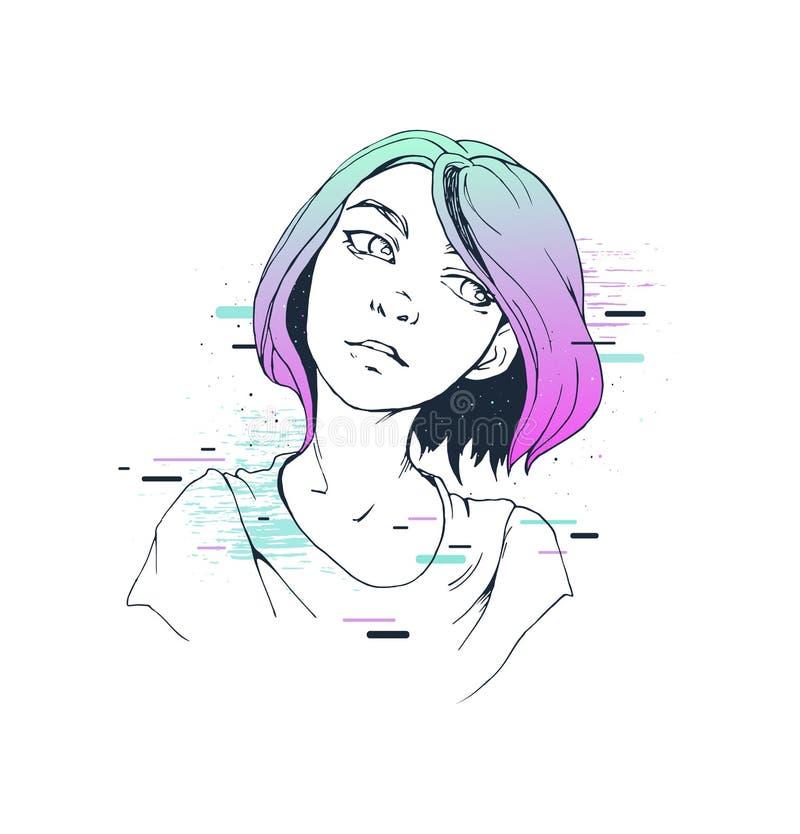 Utdragen illustration för färgrik tryckdesignhand av en färgrik flickastående vektor illustrationer