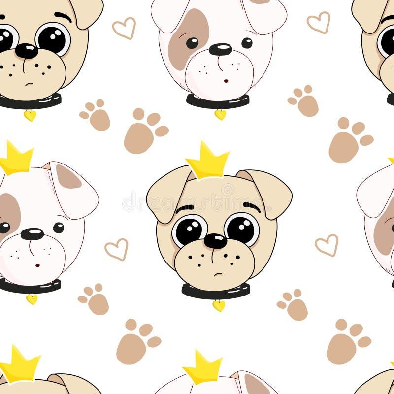 Utdragen illustration för hand av en gullig hundprinsessa seamless vektor f?r modell vektor illustrationer