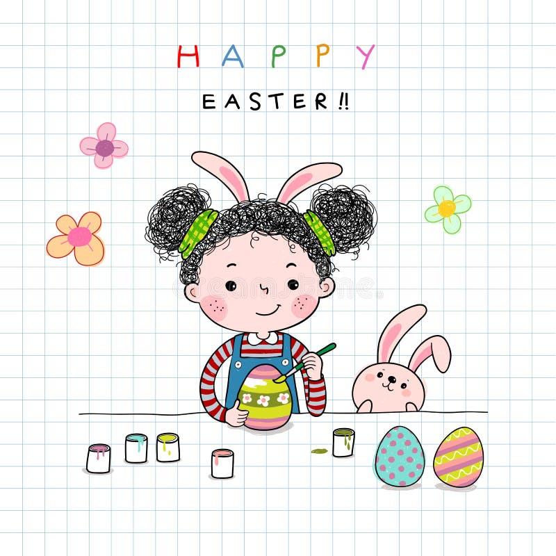 Utdragen illustration för hand av lite ägg för flickamålningpåsk stock illustrationer