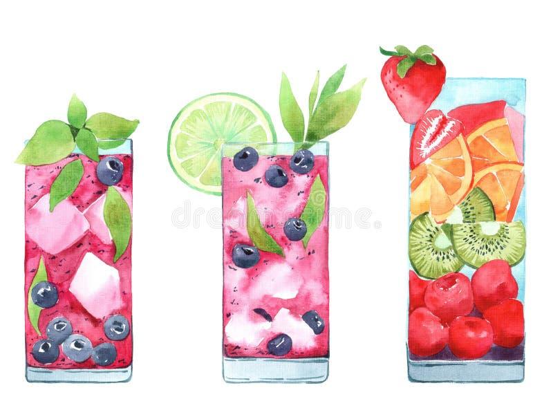 Utdragen illustration för hand av vattenfärgcoctailuppsättningen Matmenyillustrationer stock illustrationer